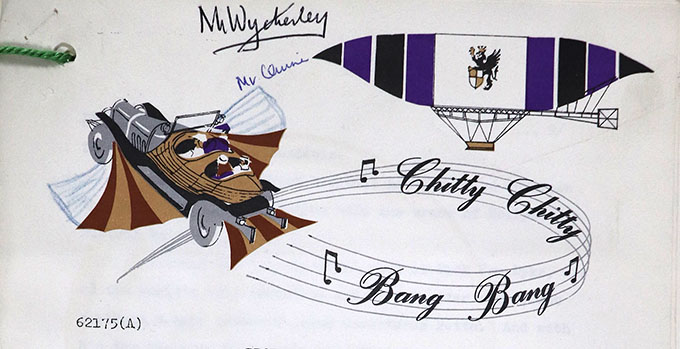 Chitty Chitty Bang Bang header on production notes. Includes illustrations of the flying car and the title written as a musical score.