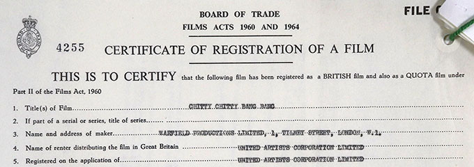 Official certificate of registration for Chitty Chitty Bang Bang, registered on the application of United Artists Corporation Limited.