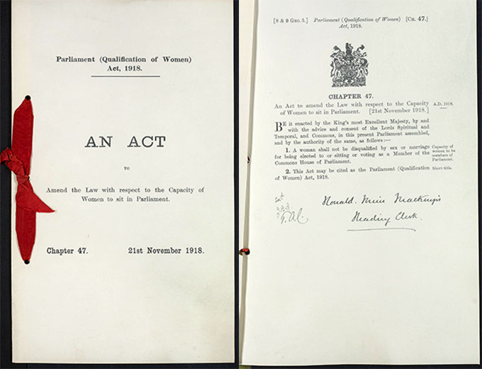 Front cover and inside page of the Parliament (Qualification of Women) Act, 1918