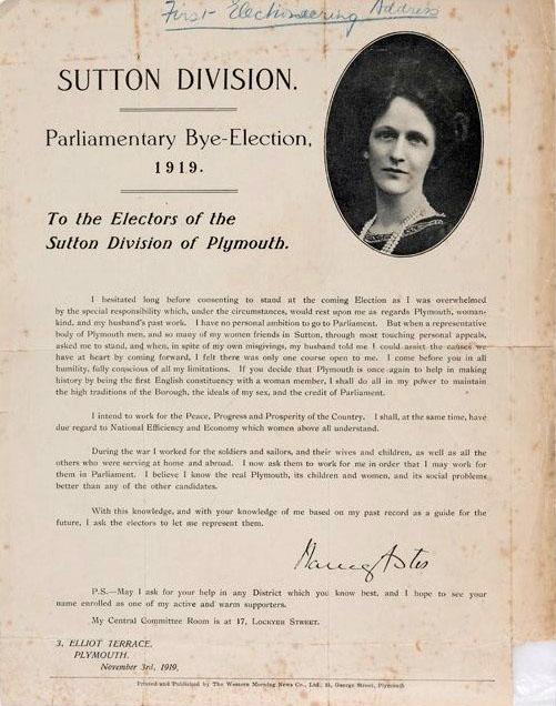 Image of a Nancy Astor Election leaflet.