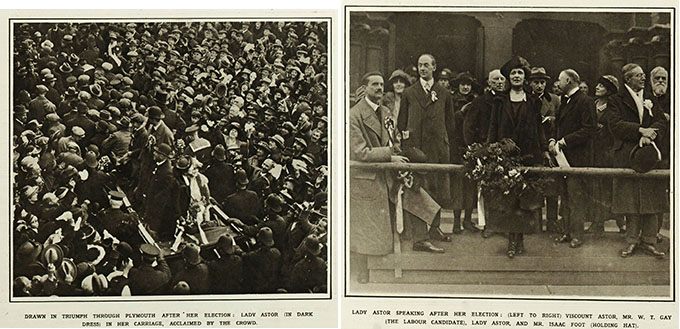 Two black and white photographs side by side showing Lady Astor following her election win in 1919, surrounded by crowds.