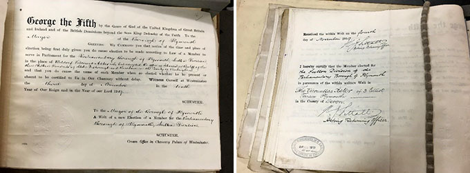 Parliamentary Election Writs and Returns for the by-election at Plymouth Sutton, 1919.