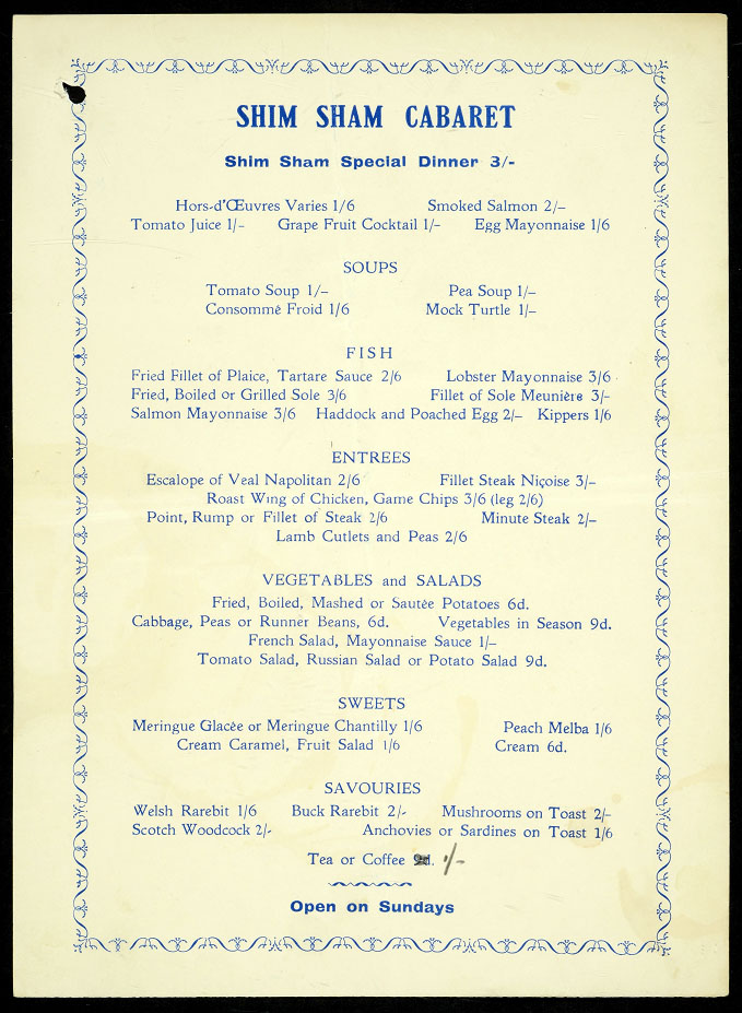 Image of a menu from the Shim Sham Cabaret, taken as police evidence in relation to unregistered clubs, bottle parties and sale of liquor out of hours, 1935-1938.