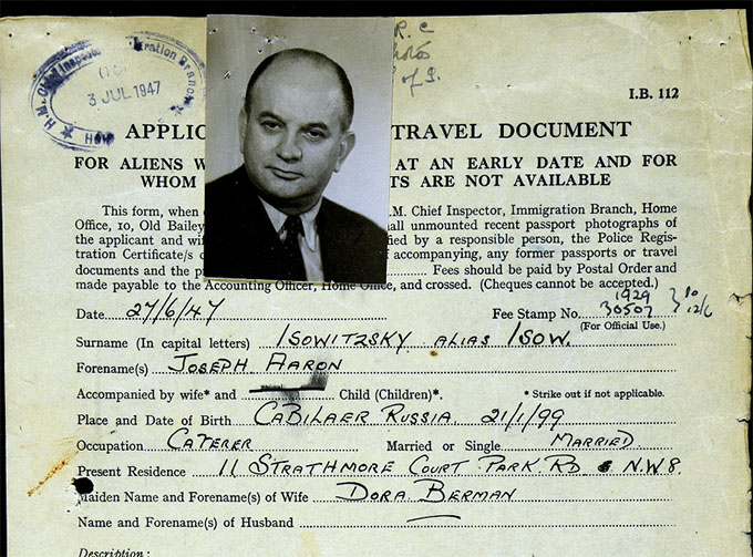 Photograph of Shim Sham owner Jack Isow, from his naturalisation papers.