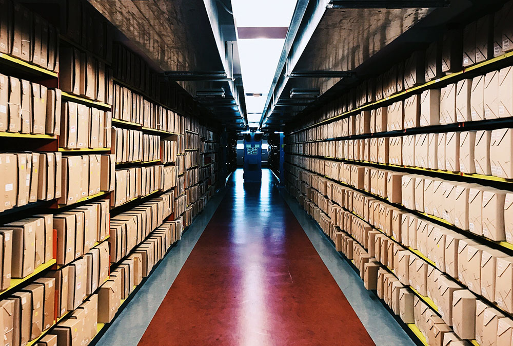 Colour photograh of a repository containing boxes.