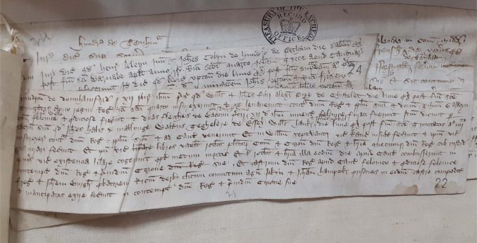 Extract of hand-written file of indictments document relevant to the Peasants' Revolt in 1381.