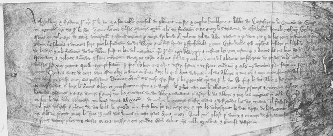 Document describing how tenants in Surrey resisted paying taxes and threatened to burn Chertsey Abbey and the kill the monks in protest, dated 1378.
