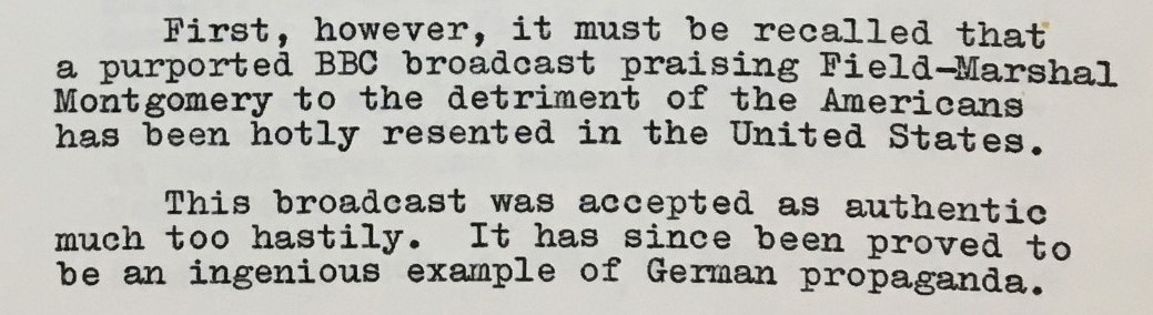 Typed extract from Field-Marshal Montgomery's press conference, dated 7 January 1945.