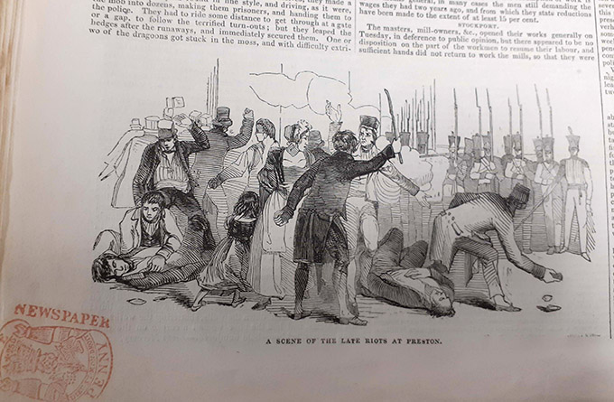 Illustrated London News image of rioting Chartists in Preston, dated 27 August 1842.