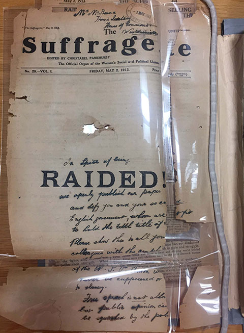 Copy of 'The Suffragette' found wrapped around a bomb at St Paul's Cathedral, May 1913.