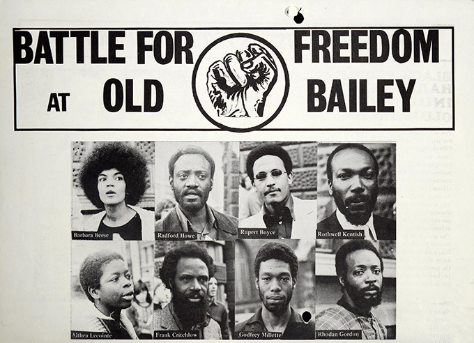 Printed flyer from August 1970 calling for justice for the Mangrove Nine, Black Power movement.