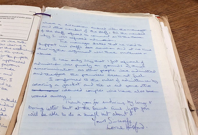 Handwritten letter of complaint signed by Lorne Horsford in 1973.