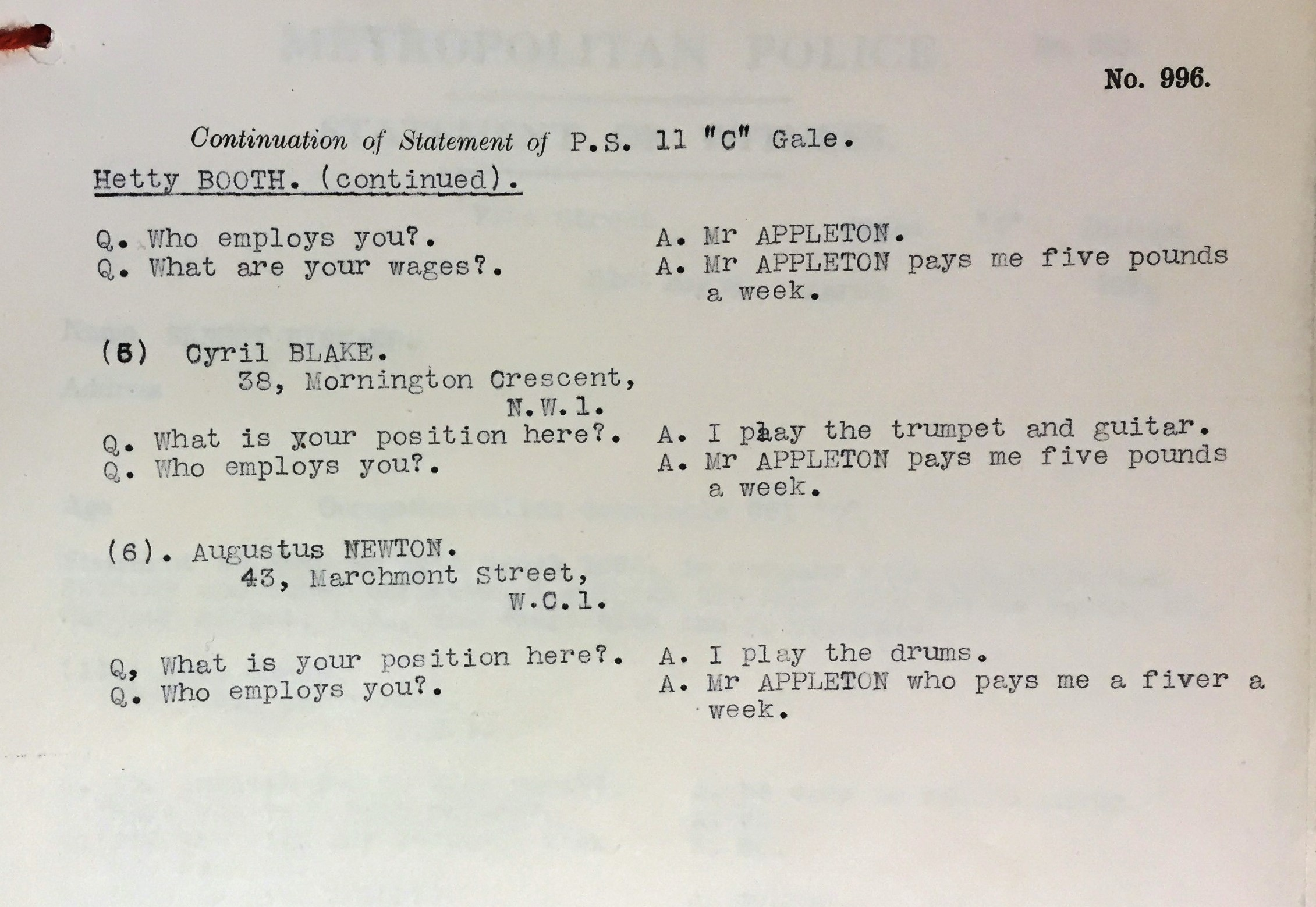 Image of a transcript of Hetty Booth and Cyril Blake being questioned by Police. Reference: MEPO 2/4494.