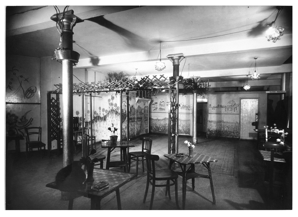 Black and white photograph showing the interior of Billie's Club, which was used as police evidence.