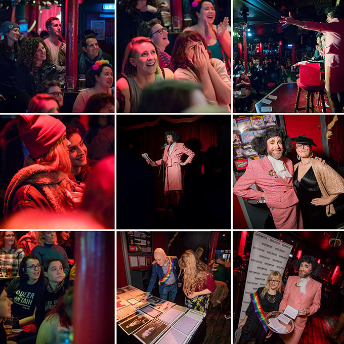 A selection of images from the final event Classified: A performance of queer dating ads inspired by archives held at the Royal Vauxhall Tavern on 23 November 2019.