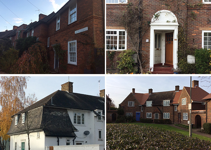 Montage of four colour photographs showing examples of the exterior of typical Roehampton Estate housing.