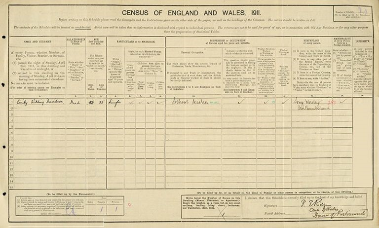 Census entry for Emily Davidson, The Houses of Parliament, 1911. Catalogue reference: RG 14/489.