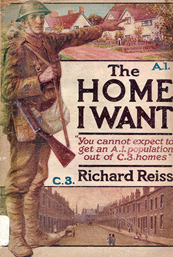 Image of The Home I Want post by Richard Reiss showing a soldier in army uniform pointing at a picturesque cottage.