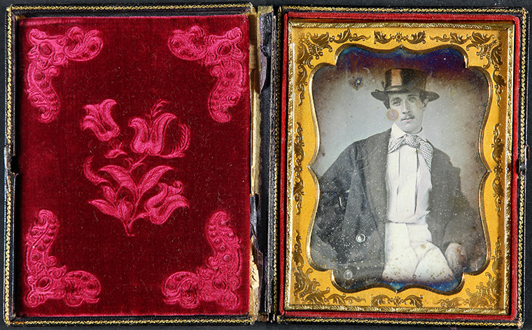 The Tichborne Claimant case (extracted from J90-1225) daguerreotype of Roger Tichborne in frame 1868-1873.