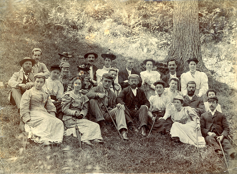 Photograph of a group containing a party who met with a fatal boating accident in Barmouth 1 August 1894.