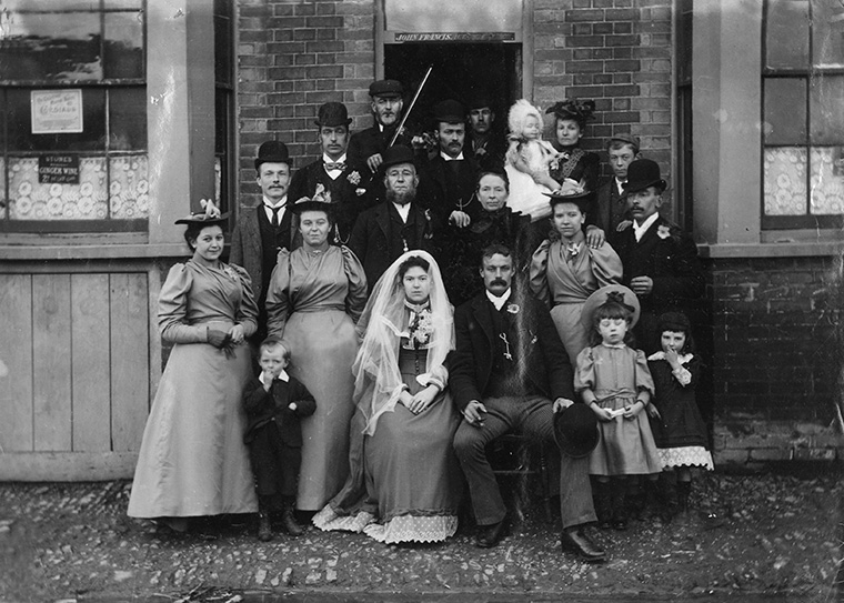 Wedding group outside the Gladstone Arms Beerhouse, Dunton Green, Kent, 1894.