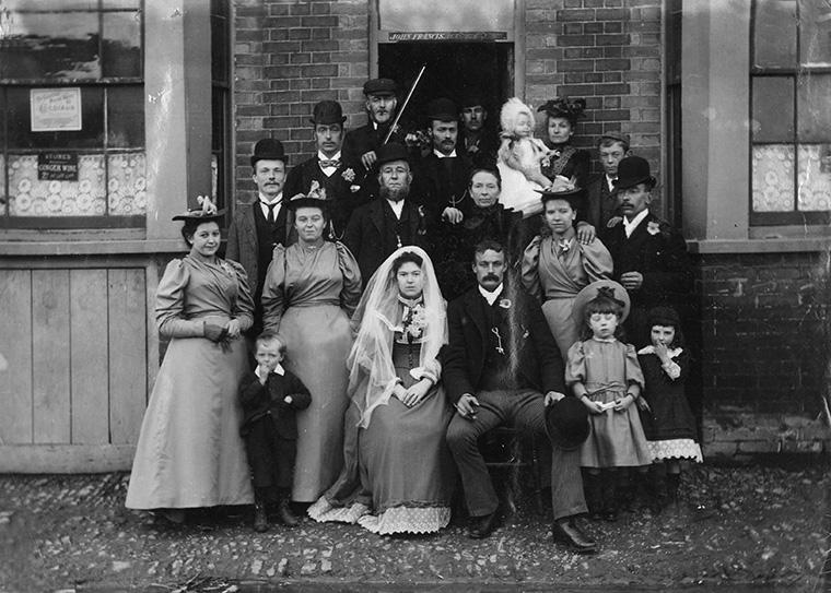 Wedding group outside the Gladstone Arms Beerhouse, Dunton Green, Kent, 1894.