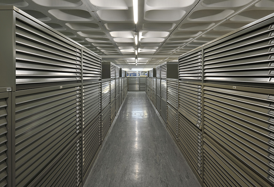 View of shelving system inside one of the National Archives' repositories.