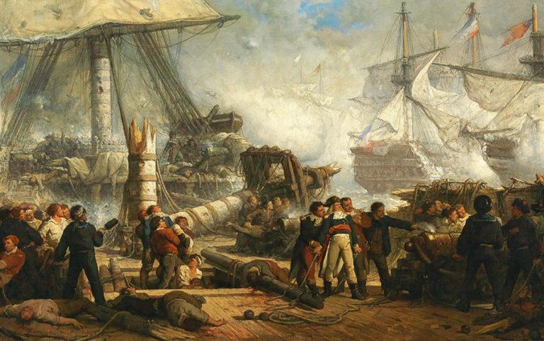 Hendrik Frans Schaefels' romantic re-imagining of the Battle of Trafalgar.