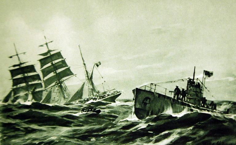 German postcard from World War One: A U-Boat attacks a sailing ship.