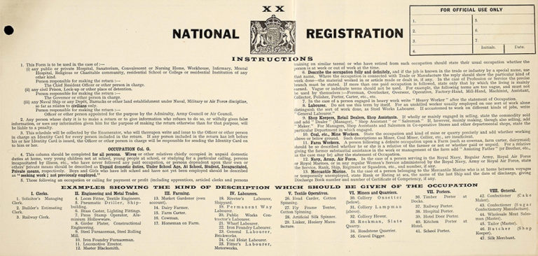 Page one from the 1939 National Registration Form detailing schedules and instructions.
