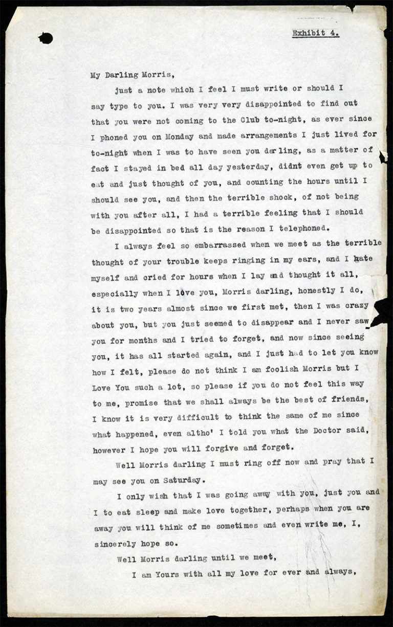 Transcript of 'My Darling Morris', a letter from Cyril to Morris.