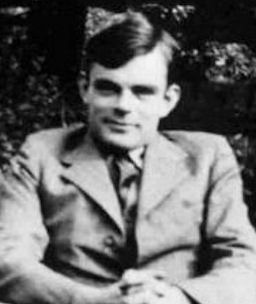 Black and white photograph of Alan Turing.