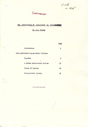 Cover page for Alan Turing's 'The Applications of Probability to Cryptography.