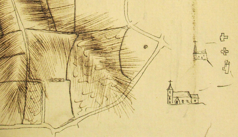 Part of a field sketch by Thomas Yeakell with a church, 1778-1780.