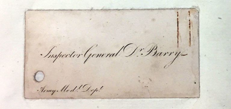Calling card for Inspector General Dr Barry.