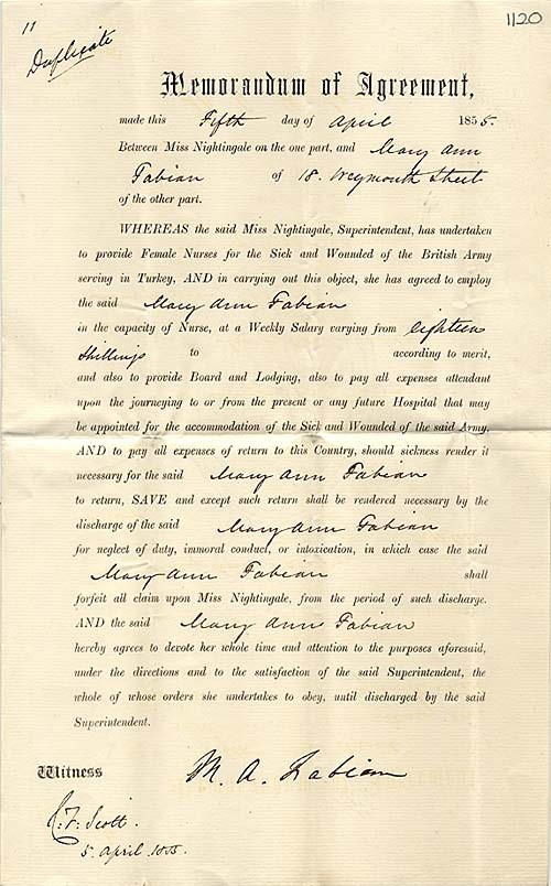 Memorandum of Agreement describing the terms if employment as a nurse between Mary Ann Fabian and Florence Nightingale.