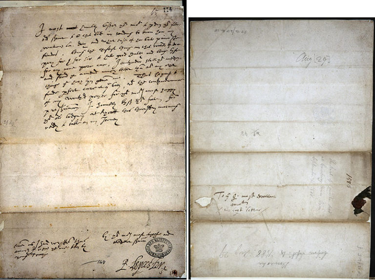 Letter from Robert Dudley, Earl of Leicester, to Elizabeth I. The reverse of the letter shows where Elizabeth is rumoured to have added the words 'his last letter'.