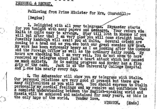 War (General) Foreign Office telegram to Moscow, No. 2347: Prime Minister to Mrs. Churchill – Stay in Moscow and personal relations with Stalin, 3 May 1945.