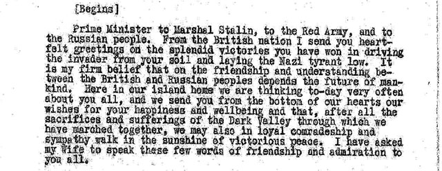 War (General): Foreign Office telegram to Moscow, No. 2504: Prime Minister to Mrs. Churchill - Proposal that the latter broadcasts to the Russian people, including a message from himself, 8 May 1945.
