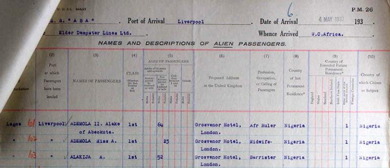 Passenger list showing Princess Ademola's return to Britain in 1937.
