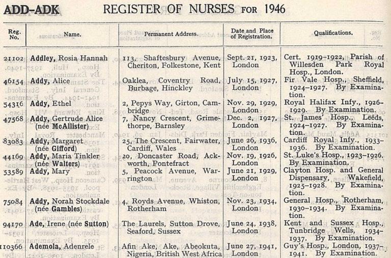 Nurse Ademola on the 1946 Register of Nurses.