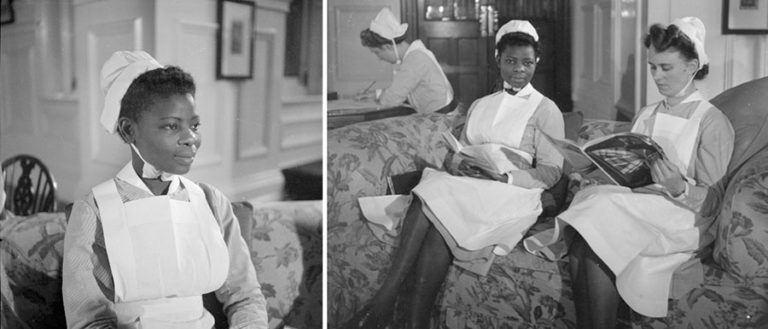 Two stills of Princess Ademola from the Colonial Film Office film 'Nurse Ademola' (1944/45) © Imperial War Museum.