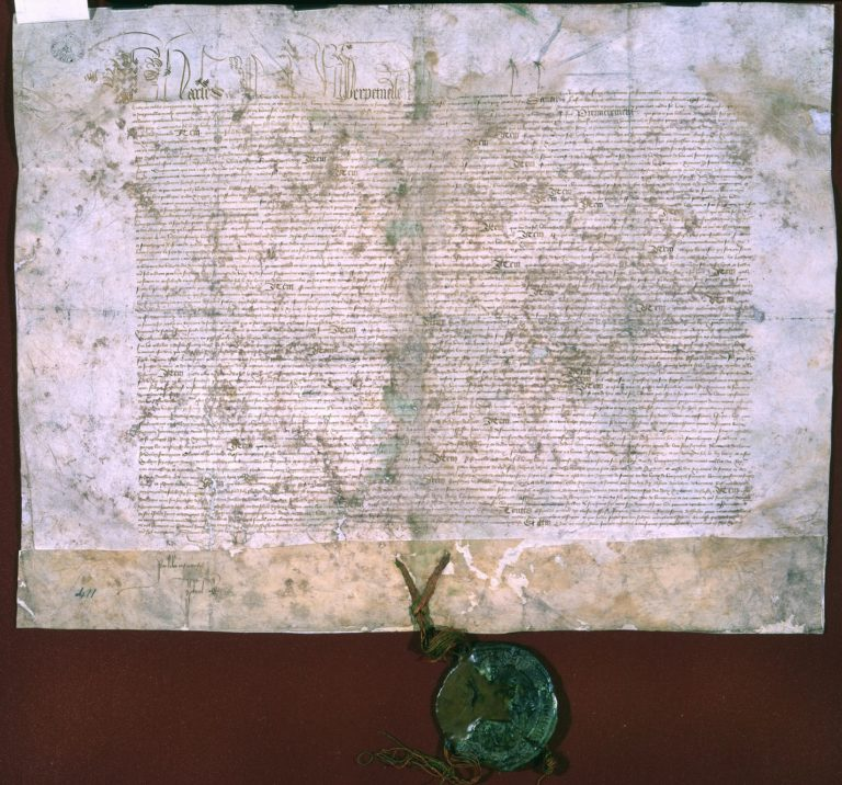 Parchement document showing the ratification by Charles, King of France, of the Treaty of Troyes, 21 May 1420 [Catalogue reference: E 30/411]