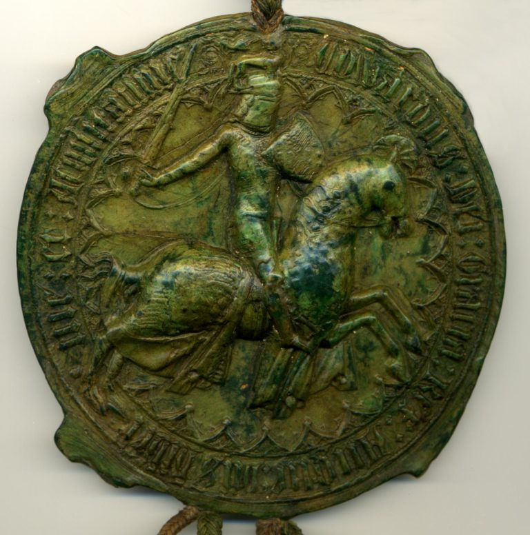 Green wax great seal, showing Edward III on horseback