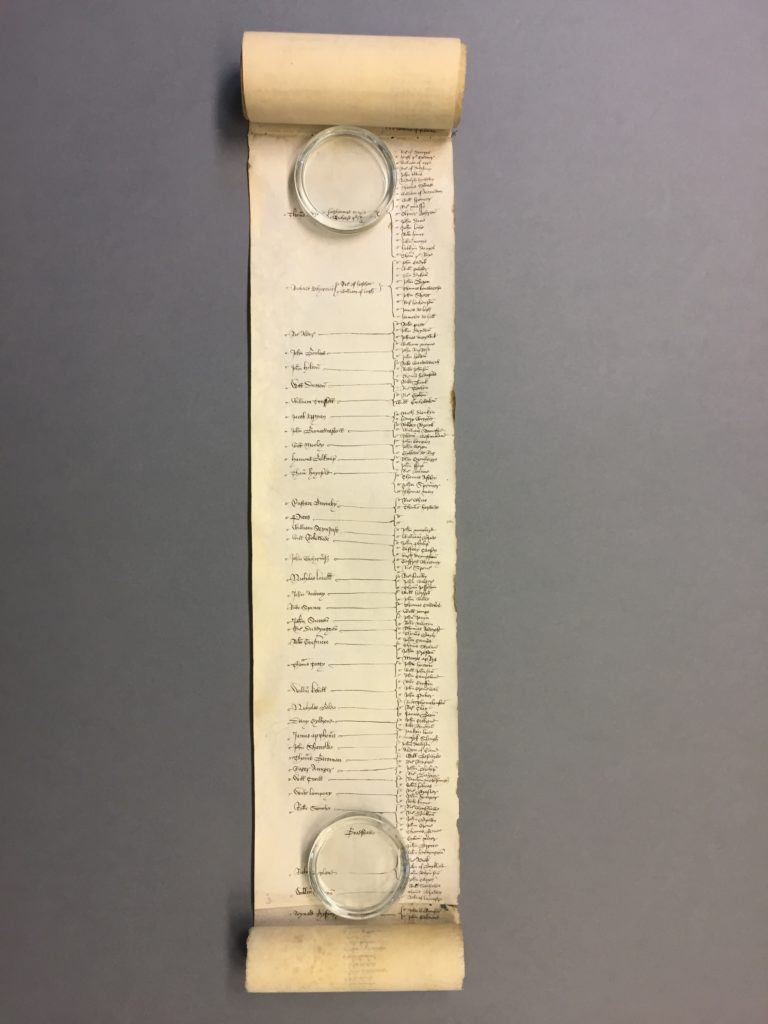 Parchment roll showing the army sent under the duke of Bedford in 1420 [Catalogue reference: E 101/49/36]