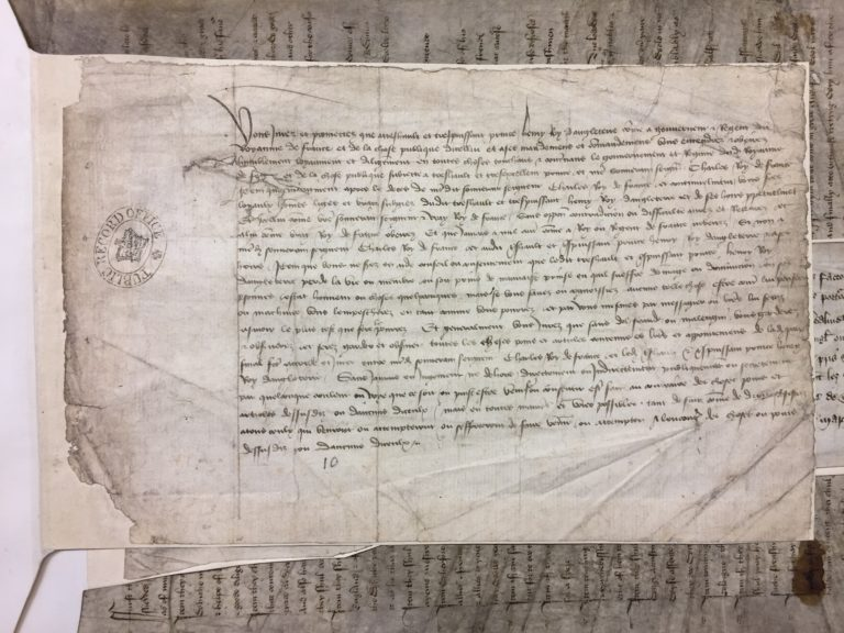 Old document showing the draft oath of the Treaty of Troyes [Catalogue reference: C 47/30/9]