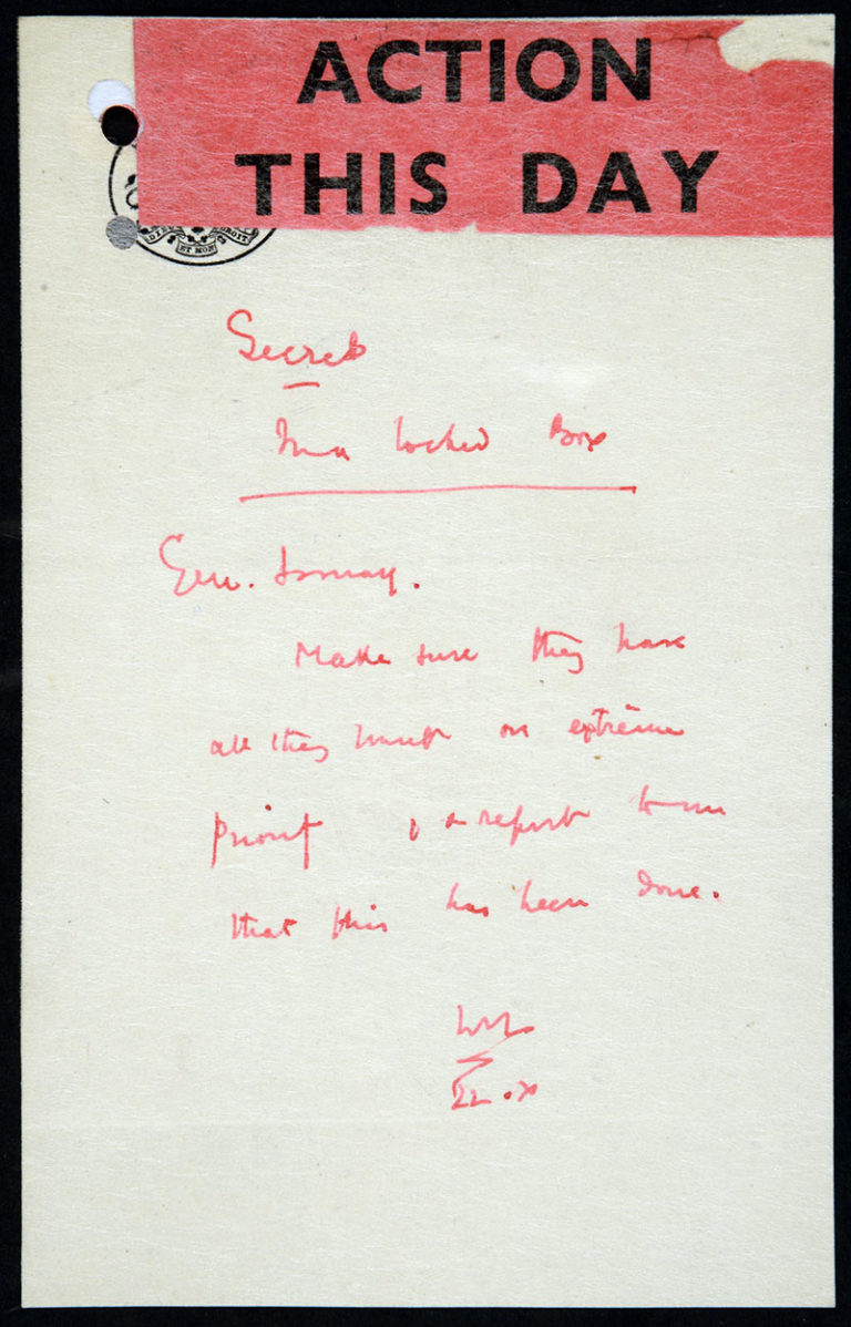 Churchill's note, 22 October 1941. Catalogue ref: HW 1/155