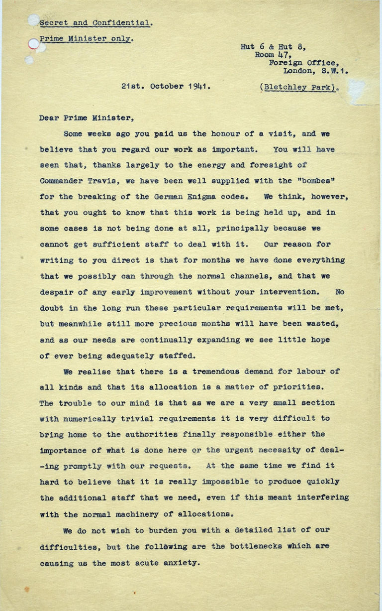First page of the letter to Churchill, 21 October 1941. Catalogue ref: HW 1/155.