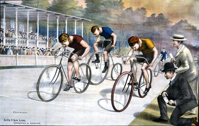Colour illustration of three competitive cyclists racing, watched by two officials.
