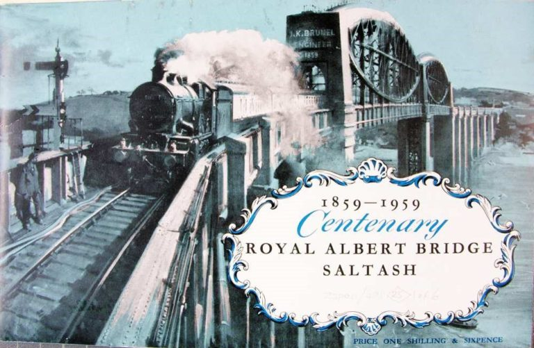 A commemorative brochure cover showing a steam train crossing a Bridge. The bridge is inscribed J K Brunel Engineer 1859. The brochure has a decorative panel which says 1859 to 1959 Centenary Royal Albert Bridge Saltash. At the bottom of the brochure it says price one shilling and sixpence